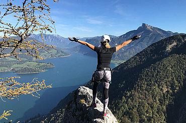 Klettersteig Drachenwand, Ausblick am Mondsee © Verena Helminger